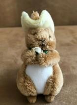Mary Meyer miniature plush bunny rabbit wearing hat mini brown stuffed a... - $12.50