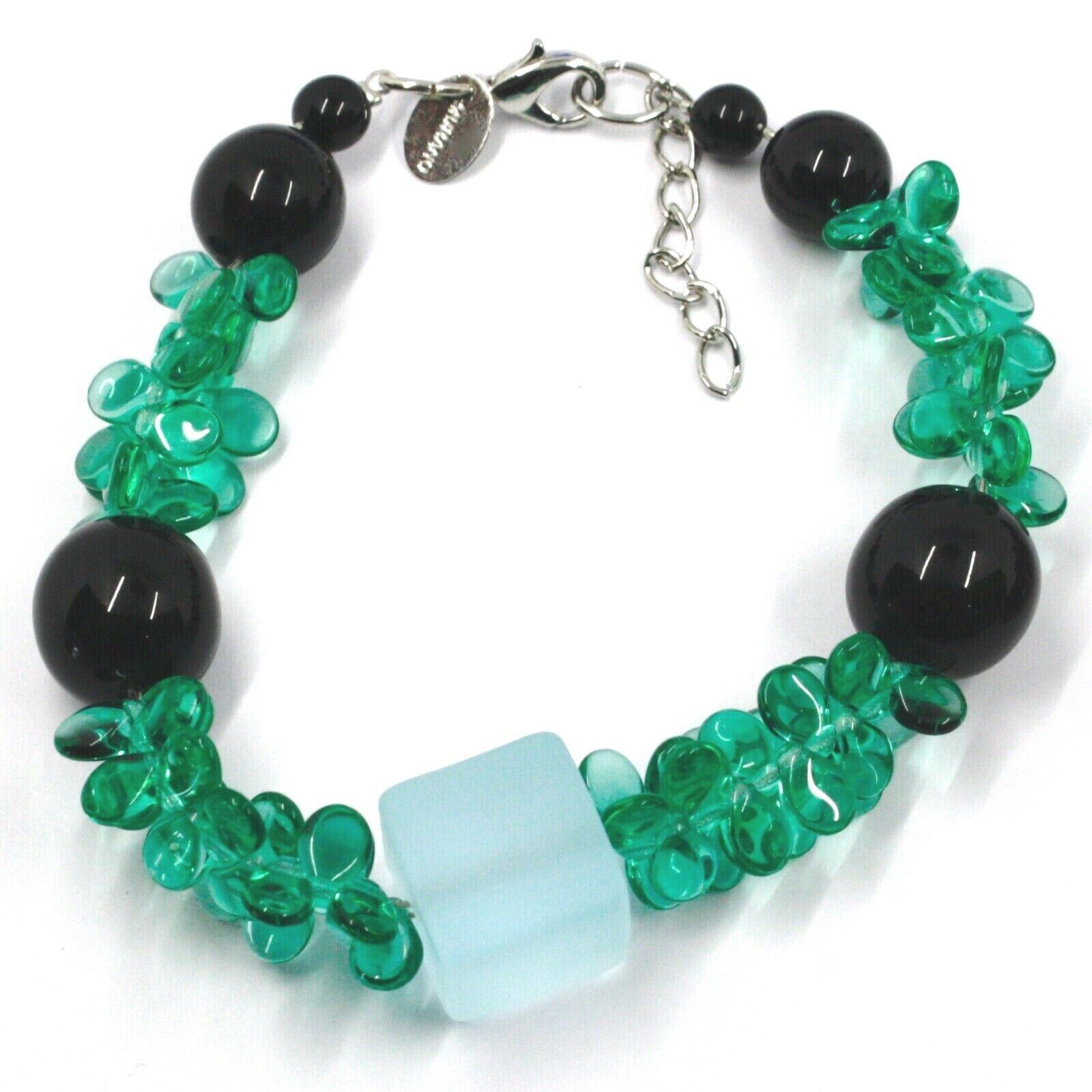 BRACELET GREEN BLACK MURANO GLASS BUNCH OF PETAL DROPS CUBE BALL, MADE IN ITALY