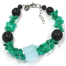 BRACELET GREEN BLACK MURANO GLASS BUNCH OF PETAL DROPS CUBE BALL, MADE IN ITALY image 1