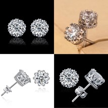 Crown Round Crystal 2018 New Fashion Plated Stud  Earrings 6mm Cubic - $8.80
