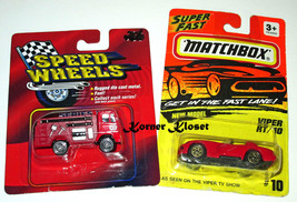 Lot of 2 Diecast Vehicles - Speed Wheels Firetruck & Matchbox Viper RT/1... - $10.65