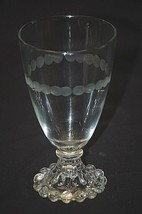 Vintage Boopie Clear Water Glass Goblet Anchor Hocking Engraved Dot Desi... - $14.84