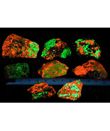 Willemite Fluorescent Green Calcite Fluorescent red Franklin NJ Lot of 8... - $0.98