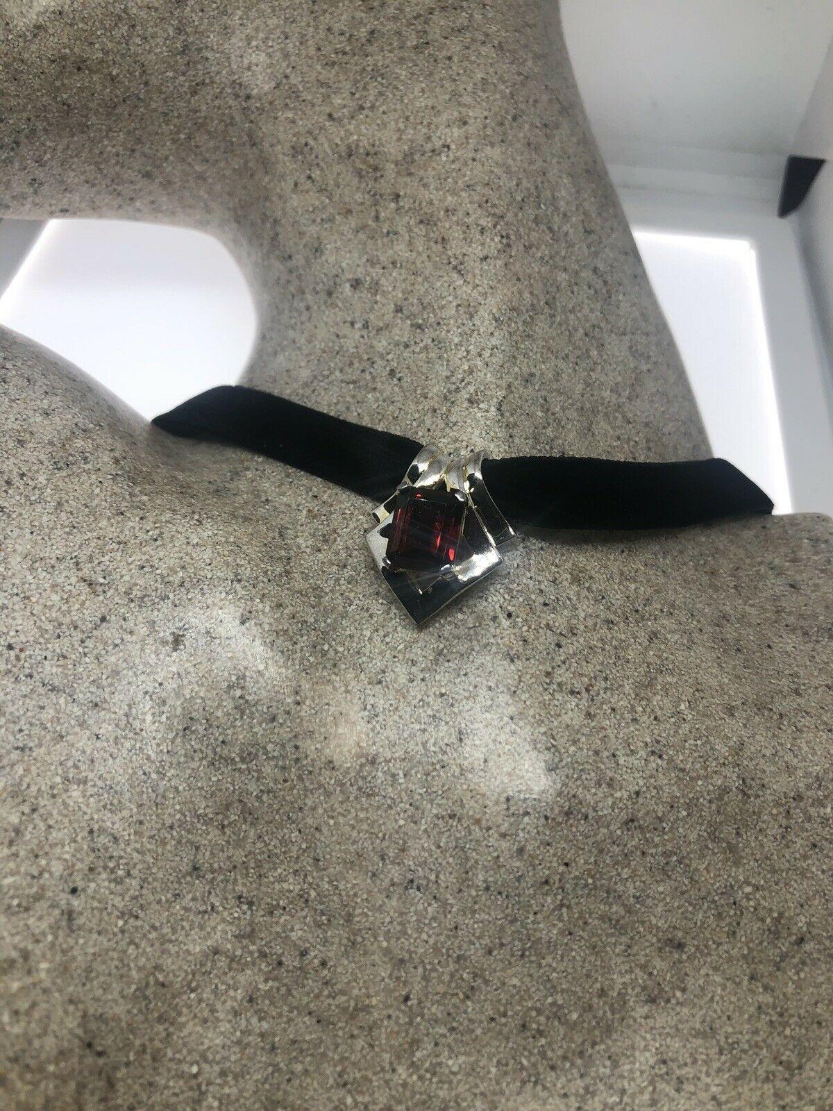 Vintage Garnet Necklace 925 Sterling Silver Genuine Stone Deco Choker