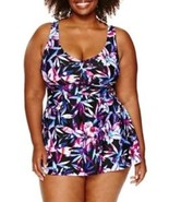 Le Cove Swim Dress Size 16W PLUS Floral Lilac Purple Black $104 New - $49.49
