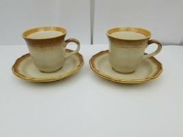 Mikasa E8000 Whole Wheat Teacup & Saucer Lot of 2 Coffee Mug Dishwasher Safe - $19.34