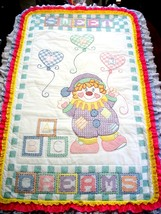 "Hand Quilted XStitched  ""CLOWNING AROUND"" Baby Quilt Crib Blanket add ba... - $169.99"