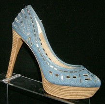 Jessica Simpson 'Tanealy' blue denim man made cut out platform heel 8.5B - $33.30