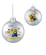 Despicable Me-Minion Ornament-Glass -Peace Love and Bananas-Holiday! - $12.99