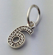 Authentic Pandora Sterling Silver Number Nine 6 Dangle Charm 791344CZ New - $32.29