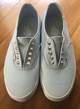Women's Vans Laceless Metal Studs Light Blue Canvas Skate Slip on Shoes Sz 8.5 - $31.78