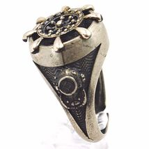 925 SILVER RING, BURNISHED AND SATIN, RUDDER, NAUTICAL ROPE, NAVY DIVER image 3