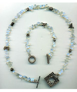 "19"" NECKLACE AND 8"" BRACELET SMOKED GLASS BEADS AND SILVER PLATED FIGURINES - $19.99"