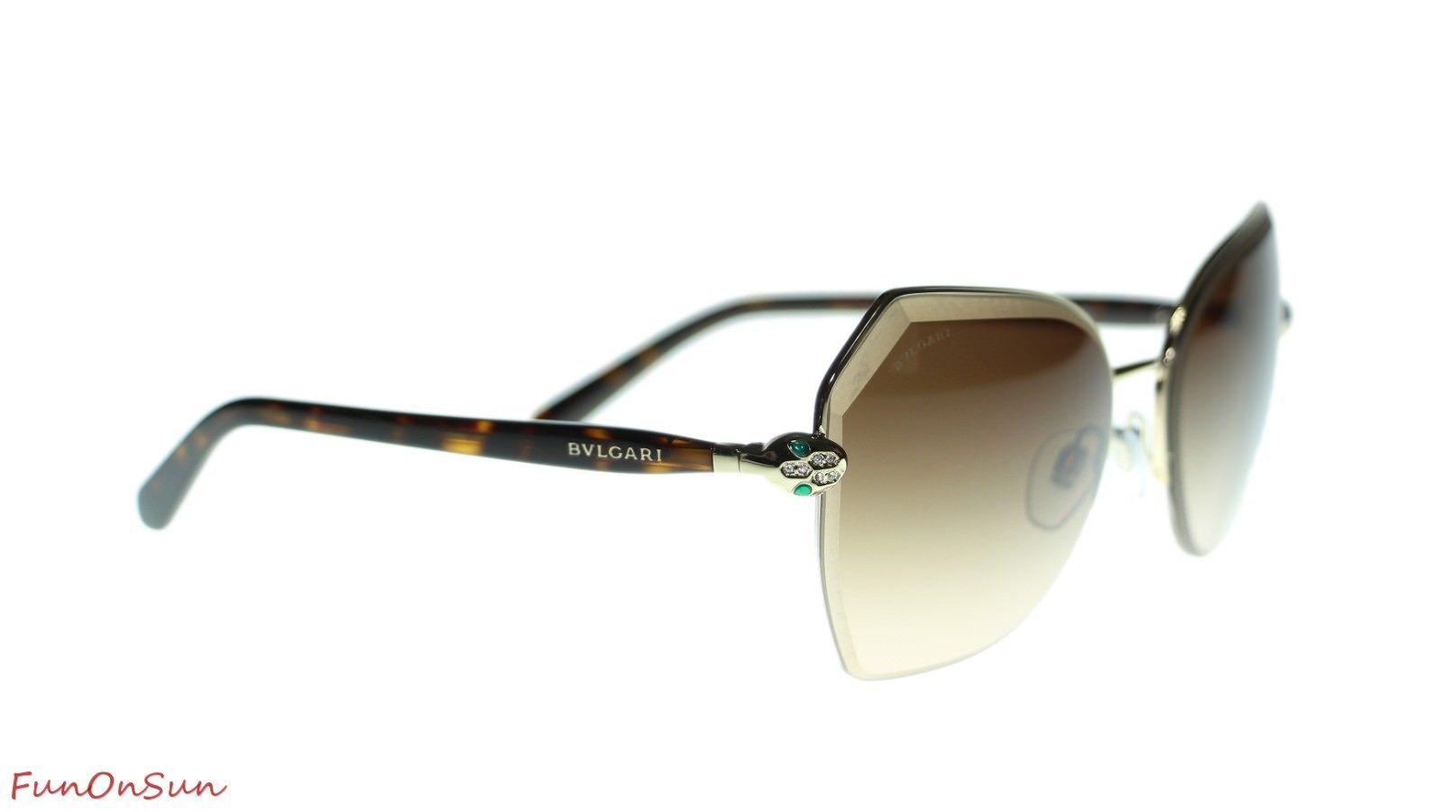 BVLGARI Women's Irregular Sunglasses BV6102B 201318 Pale Gold/Brown Lens 59mm