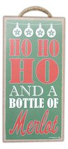 Funny Christmas Wooden Sign with Rope For Hanging (Ho Ho Ho... Merlot)  - $14.99