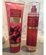 Set 2 Bath and Body Works Champagne Apple Honey Fragrance Mist Spray Body Cream - $37.90