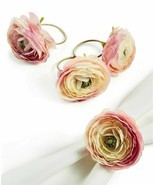 4 Martha Stewart English Garden Ranunculus Napkin Ring Holders Easter Sh... - $30.64
