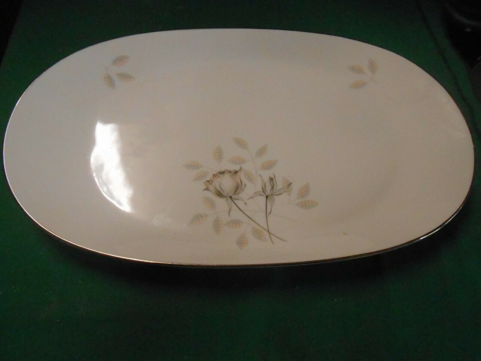 "Primary image for  Magnificent ROSENTHAL Germany PEACH BROWN-GRAY ROSE Large PLATTER 15""x 9"""