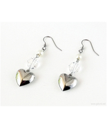 Silver Heart Earrings White Pearls, Bridal Jewelry, Handmade, Kawaii Fas... - $12.00