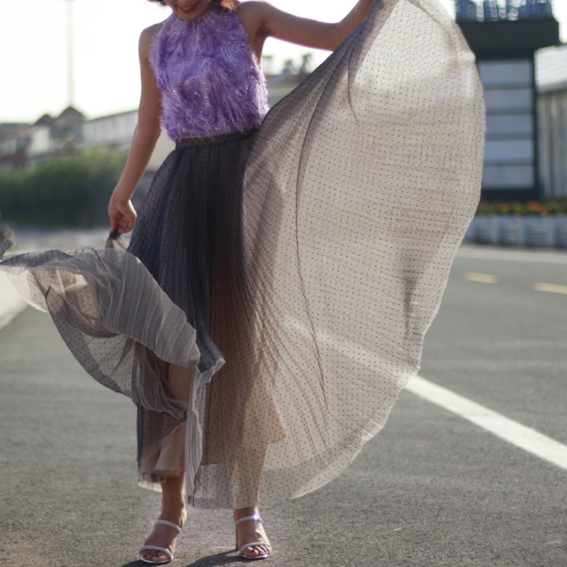 Women Full Pleated Long Skirt Pleated Tulle Tutu Skirt Party Tulle Outfits Plus