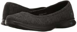 New Skechers Performance Ladies' Black/Grey Go Step-Lite Flats Slip On Shoe NIB