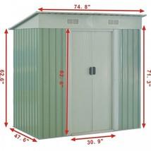 6'X4' Outdoor Garden Storage Sheds Tool House Door Metal Steel Backyard ... - $313.92