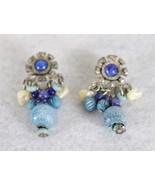 """Beaded Vintage Blue Earrings 2"""" - $16.82"""