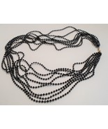 Vintage 8 Strand 31 inch Black Plastic Bead Necklace Multi Strand Necklace - $6.00