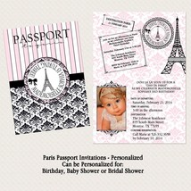 NEW Passport to Paris Birthday Baby/Bridal Shower Invitation with photo - $15.00