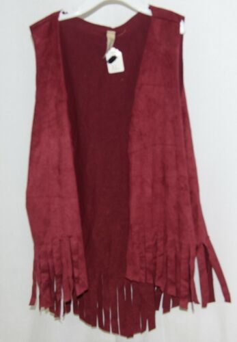 Pomelo Maroon Fringed Extra Large Vest Made In The USA