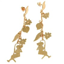 Drop Earrings Silver 925, Leaves, Flowers, Girl on Swing, image 1