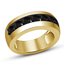 Round Black Diamond Mens Wedding Engagement Pinky Ring 14k Yellow Gold Finish - £53.32 GBP