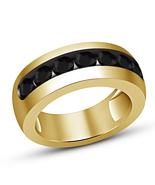 Round Black Diamond Mens Wedding Engagement Pinky Ring 14k Yellow Gold F... - $64.99