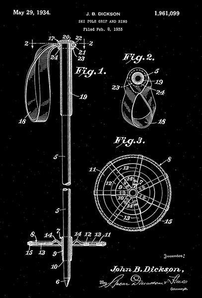 Primary image for 1934 - Ski Pole Grip and Ring - J. B. Dickson - Patent Art Poster
