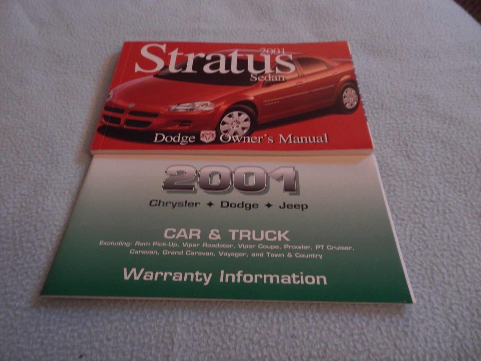 2001 Dodge Stratus Owners Manual With Binder