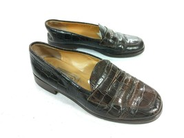 Coach Leana Penny Loafer Brown Croc Leather Slip-on Shoes 7 C Made in Italy - $56.06