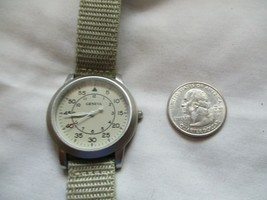 Geneva Wristwatch Silver Toned Beige Buckle Band Round Face - $29.00