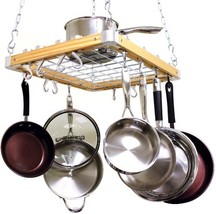 Cooks Standard Ceiling Mounted Wooden Pot Rack, 24 by 18-Inch - $89.21