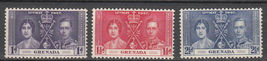 1937 Coronation Set of 3 Grenada Postage Stamps Catalog Number 128-30 MNH