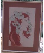 Vintage G. Escobedo Original Drawing - VGC - FRAMED AND MATTED - SIGNED - $39.59