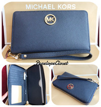 NWT MICHAEL KORS SAFFIANO LEATHER FULTON LG FLAT MF PHONE CASE WALLET IN... - $62.88