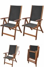 Black Garden Dining Chair Set Wooden Folding Reclining Patio Furniture S... - $201.28