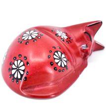 Tabaka Chigware Hand Carved Kisii Soapstone Red w Flower Sleeping Cat Figure image 5