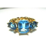 Stunning Vintage 10K Yellow Gold Brilliant Blue Topaz Ring Braided Frame... - $236.55