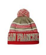 San Francisco Men's Blended Stripe Winter Knit Pom Beanie Hat (Red/Khaki) - $13.75