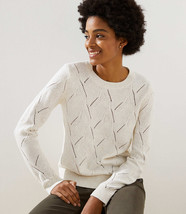 LOFT Abstract Pointelle Sweater Sand Heather New - $29.99