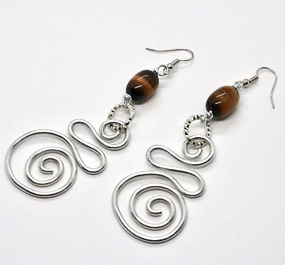 EARRINGS THE ALUMINIUM LONG 9 CM WITH TIGER'S EYE AND SPIRAL