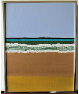 """The Beach, Original Acrylic Painting, with Silver Frame 11 X 14"""" Free Sh... - $47.00"""