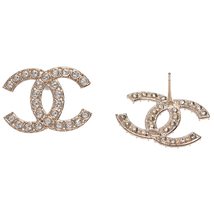 100% AUTH NEW CHANEL 2019 XL Large Gold CC Crystal Stud Earrings image 2
