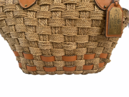 XL Large Woven Ralph Lauren Straw Beach Tote Bag Shopping Shoulder Purse Leather image 3